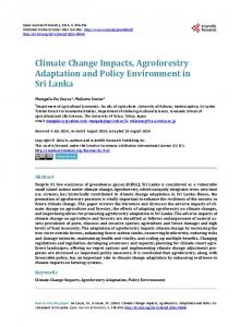 Climate Change Impacts, Agroforestry Adaptation and Policy ...