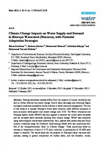 Climate Change Impacts on Water Supply and Demand in ... - MDPI