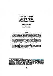 Climate Change Law and Policy After Copenhagen
