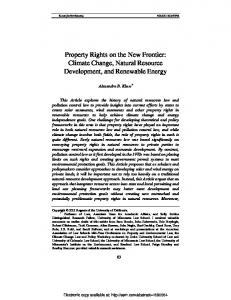 Climate Change, Natural Resource Development, and Renewable ...
