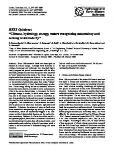 Climate, hydrology, energy, water: recognizing ... - Semantic Scholar