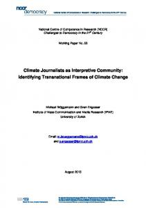 Climate Journalists as Interpretive Community - NCCR Democracy