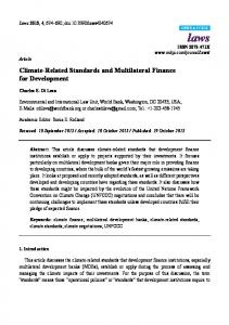 Climate-Related Standards and Multilateral Finance for Development