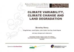 climate variability, climate change and land degradation