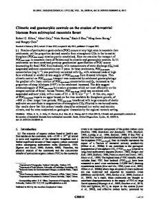 Climatic and geomorphic controls on the ... - Wiley Online Library