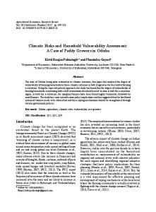 Climatic Risks and Household Vulnerability ... - AgEcon Search