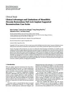 Clinical Advantages and Limitations of Monolithic Zirconia ...