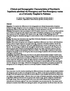 Clinical and Demographic Characteristics of Psychiatric ... - JPMA
