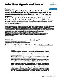 Clinical and epidemiological correlates of antibody response to ...