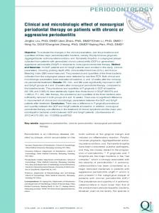 Clinical and microbiologic effect of nonsurgical periodontal therapy on ...