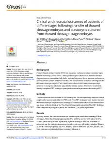 Clinical and neonatal outcomes of patients of different ages ... - PLOS