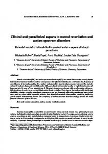 Clinical and paraclinical aspects in mental retardation and autism