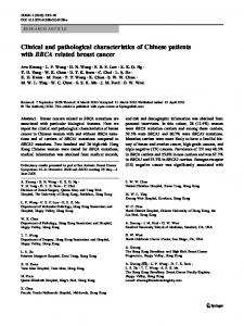 Clinical and pathological characteristics of Chinese patients with ...