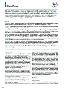 Clinical, Anthropometric and Biochemical Characteristics of Patients ...