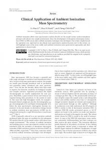 Clinical Application of Ambient Ionization Mass Spectrometry - J-Stage