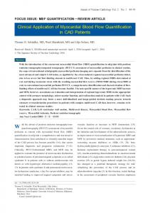 Clinical Application of Myocardial Blood Flow Quantification in CAD ...