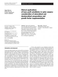 Clinical applications of bone graft substitutes in spine ... - Europe PMC