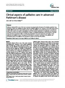 Clinical aspects of palliative care in advanced Parkinson's disease ...