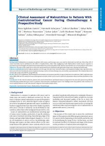 Clinical Assessment of Malnutrition in Patients With Gastrointestinal ...