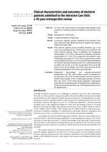 Clinical characteristics and outcomes of obstetric patients ... - CiteSeerX