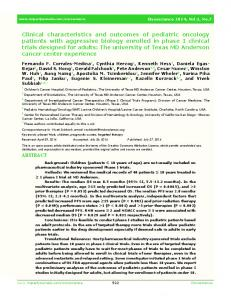 Clinical characteristics and outcomes of pediatric oncology patients ...