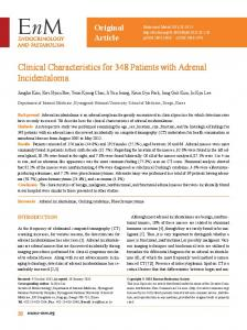Clinical Characteristics for 348 Patients with Adrenal Incidentaloma