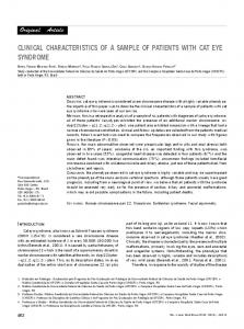 clinical characteristics of a sample of patients with ... - Semantic Scholar