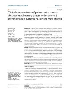 Clinical characteristics of patients with chronic obstructive pulmonary ...