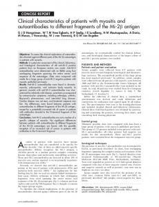 Clinical characteristics of patients with myositis and autoantibodies to ...