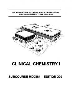 CLINICAL CHEMISTRY I