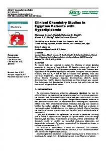 Clinical Chemistry Studies in Egyptian Patients