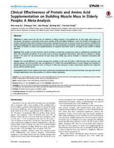 Clinical Effectiveness of Protein and Amino Acid