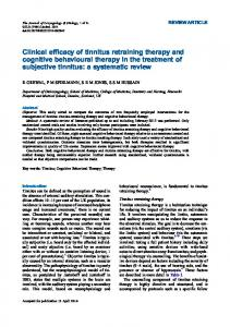 Clinical efficacy of tinnitus retraining therapy and ...