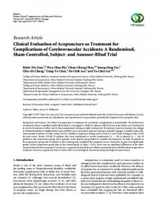 Clinical Evaluation of Acupuncture as Treatment for Complications of ...
