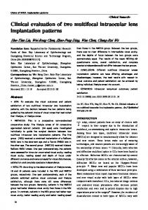 Clinical evaluation of two multifocal intraocular lens implantation ...