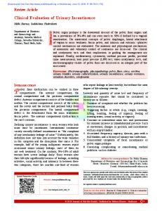 Clinical Evaluation of Urinary Incontinence