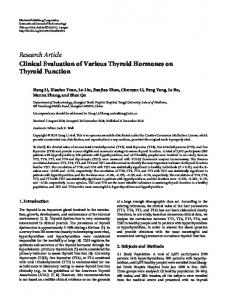 Clinical Evaluation of Various Thyroid Hormones on Thyroid Function