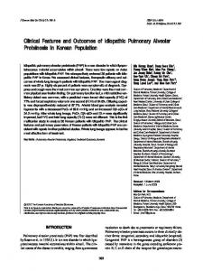 Clinical Features and Outcomes of Idiopathic Pulmonary Alveolar ...