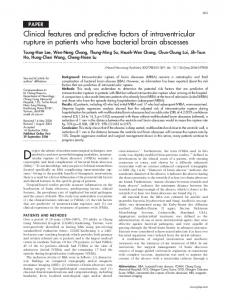 Clinical features and predictive factors of intraventricular rupture in ...