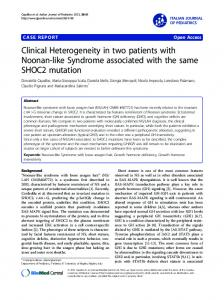 Clinical Heterogeneity in two patients with Noonan