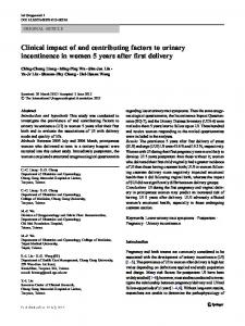 Clinical impact of and contributing factors to urinary incontinence in ...