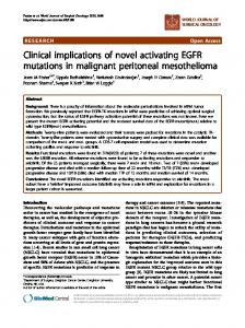 Clinical implications of novel activating EGFR mutations in malignant ...