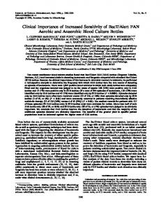 Clinical Importance of Increased Sensitivity of BacT/Alert FAN Aerobic ...