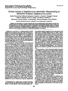 Clinical Isolates of Staphylococcus intermedius Masquerading as ...