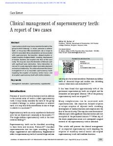 Clinical management of supernumerary teeth: A