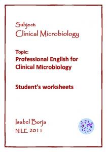 Clinical Microbiology Professional English for Clinical ... - Xtec