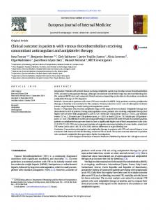 Clinical outcome in patients with venous thromboembolism receiving ...
