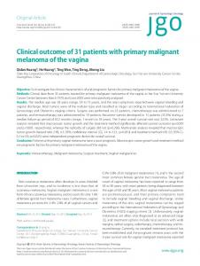 Clinical outcome of 31 patients with primary