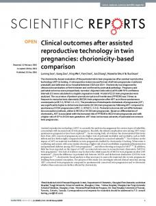 Clinical outcomes after assisted reproductive