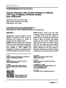 Clinical Outcomes After Insulin Initiation in Patients with Type 2 ...